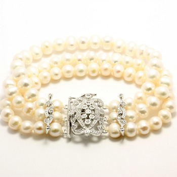 7mm Freshwater Pearl & 0.50ctw Cubic Zurconia 3 Row Bracelet