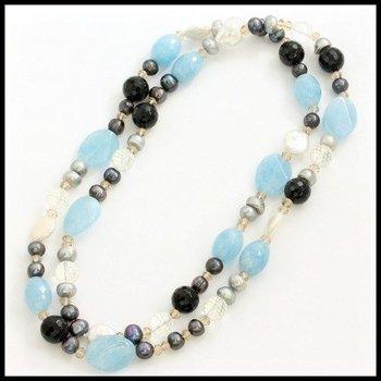 7mm Freshwater Pearl, Aquamarine, Black Onyx, Mother of Pearl & Quartz Crystal Necklace