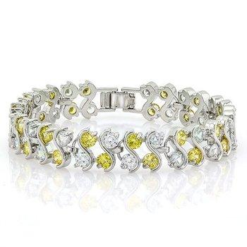 8.00ctw Yellow & White Italian CZ (AAA Grade) Tennis Bracelet