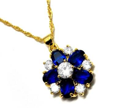 8.25ctw Sapphire & 1.50ctw White Diamonique Necklace