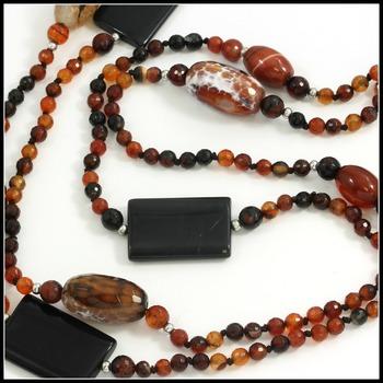 """84"""" Long Genuine Quartz & Onyx Beads Necklace"""