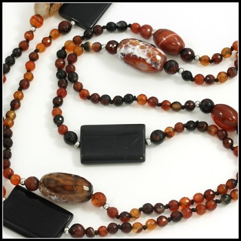 "84"" Long Genuine Quartz & Onyx Beads Necklace"