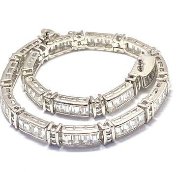 """8.50ctw Diamonique Tennis Bracelet Platinum & 925 Sterling Silver 7"""" Long"""