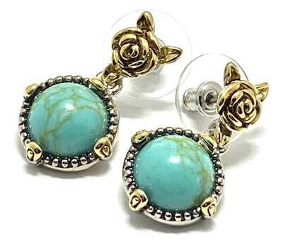 8.5ct Turquoise Rose Drop Dangle Earrings Two-Tone 14k Gold Over