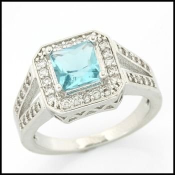 Fine Jewelry Brass with 3x  Gold Overlay Blue & White Topaz Ring Size 8