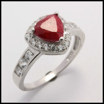 Genuine Dyed Ruby Solid .925 Sterling Silver Ring Size 7
