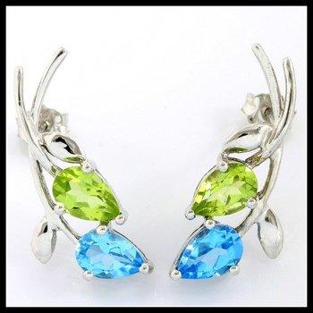 Solid 10k White Gold, 2.50ctw Genuine Peridot & Blue Topaz Earrings