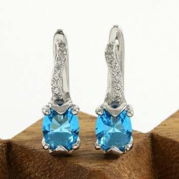 14k White Gold Overlay Created Sky Blue Topaz Earrings