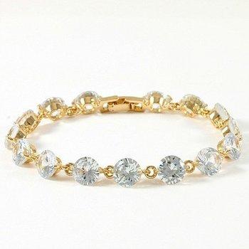Fine Jewelry Brass with 3x Yellow Gold Overlay Cubic Zirconia Tennis Bracelet