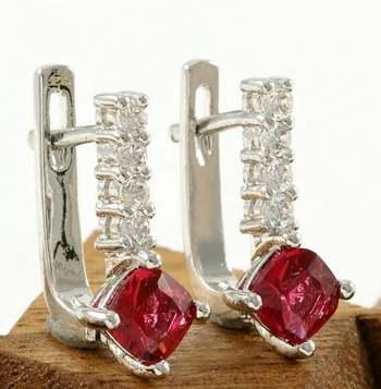 14k White Gold Overlay Beautifully Created Rhodolite & White Sapphire Earrings