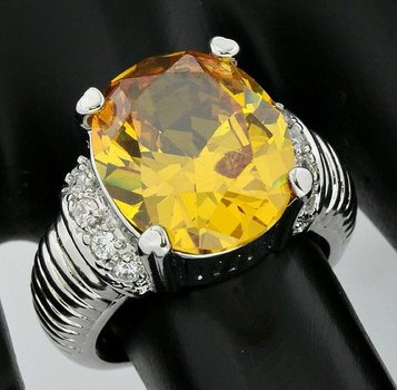 5.15ctw Citrine & White Sapphire Ring size 6 1/2
