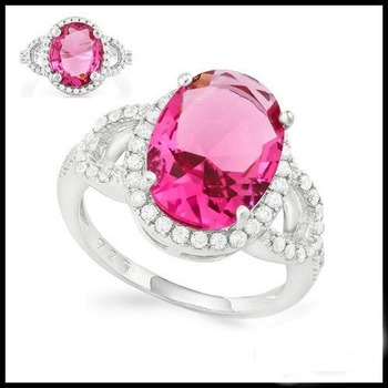 Sterling Silver 3.65ctw Beautifully created Fine Pink & White Sapphire Cocktail Ring Size 7