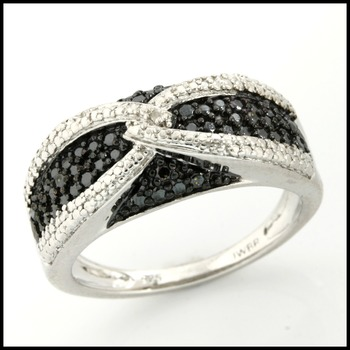 Sterling Silver & Genuine Black & White Diamond Accent Ring Size 7