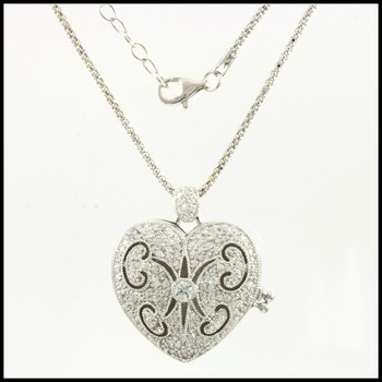 Sterling Silver with AAA Grade CZ's Heart Locket Necklace