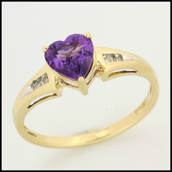 Solid 10k Yellow Gold Genuine Amethyst with Diamond Accent Ring Size 7