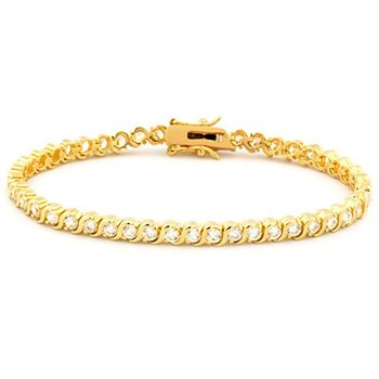 "18k Yellow Gold Finish 3mm Round White Cubic Zirconia CZ Tennis Bracelet, Classic S Design, 7"" Long"