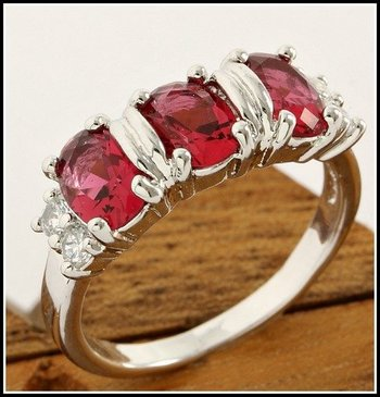 Fine Jewelry Brass with 3x Gold Overlay Beautifully Created Ruby and White Sapphire Ring Size 8