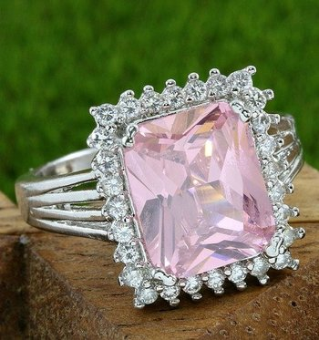 Fine Jewelry Brass with 3x Gold Overlay Beautifully Created Pink Topaz Ring Size 7