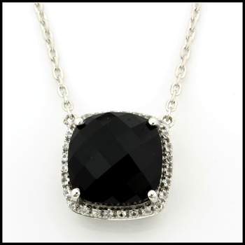 Authentic Lorenzo .925 Sterling Silver Genuine Onyx & White Sapphire Necklace