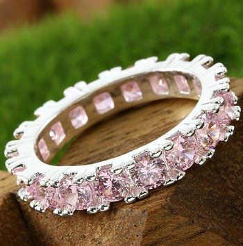 Pink Topaz Eternity Ring Size 7