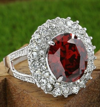 Fine Jewelry Brass with 3x 14k Gold Overlay Ruby Ring Size 7