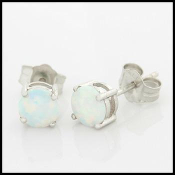 14k Solid White Gold Opal Stud Earrings