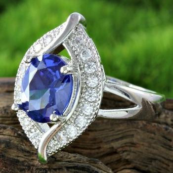 14k White Gold Filled,  Tanzanite & White Sapphire Ring Size 7
