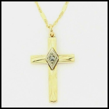 Solid 10k Yellow Gold, 0.02ctw Genuine Diamond Cross Necklace