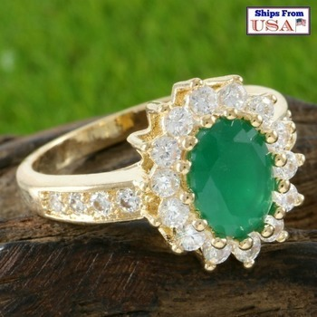 Fine Jewelry Brass with Yellow Gold Overlay Beautifully Created Fine Emerald & White Sapphire Ring Size 8