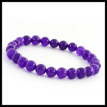 8mm Beaded Purple Quartz Stretch Bracelet