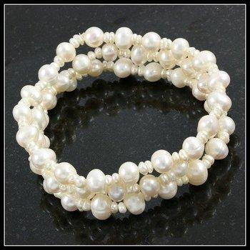 8mm Freshwater Pearl Set of Three Stretch Bracelets