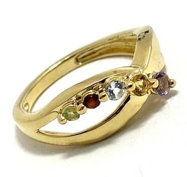 .925 Amethyst, Citrine, Blue Topaz, Garnet, Peridot Sterling Silver Ring