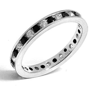 .925 Eternity Band in Sterling Silver, 1.00ct Black Spinel & White Topaz