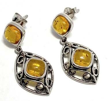 .925 Genuine Baltic Amber Sterling Silver, 5.50ct Drop Earrings