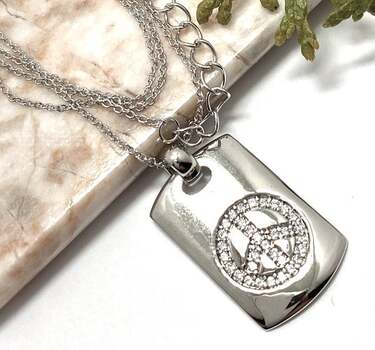 .925 Peace Dog Tag  Necklace - Sterling Silver, 0.25ct White Diamonique Peace Dog Tag Pendant Necklace