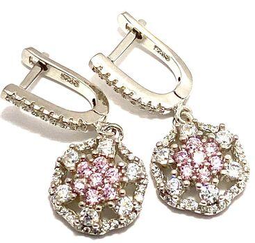 .925 Pink & White Topaz Dangle Earrings in Solid Sterling Silver