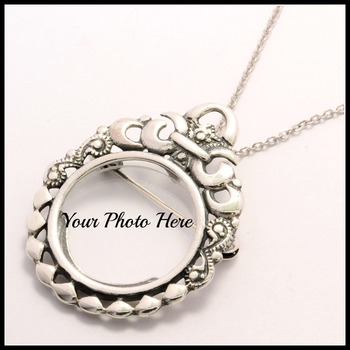.925 Solid Sterling Silver Necklace/Pin Photo Frame
