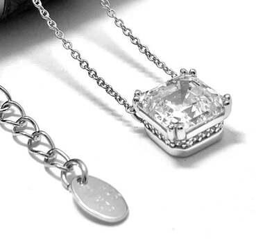 .925 Solitaire Necklace - Sterling Silver, 5.45ct Diamonique Diamond Pendant Necklace