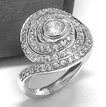 .925 SS 1.50ct Round Cut Diamonique Diamond Statement Ring in Solid Sterling Silver