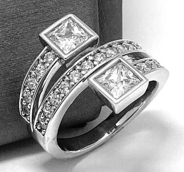 .925 SS 3.15ct Princess Cut Diamonique Diamond Anniversary Ring in Solid Sterling Silver
