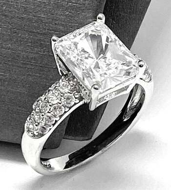 .925 SS 6.75ct Emerald Cut Diamonique Diamond Solitaire Engagement Ring in Solid Sterling Silver In Solid Sterling Silver