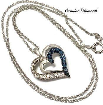 .925 Sterling Silver 0.012ct Genuine Blue Diamond, 0.25ct Genuine White Sapphire Necklace