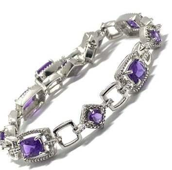 .925 Sterling Silver, 0.015ct Natural Diamond & 11.75ct Amethyst Bracelet