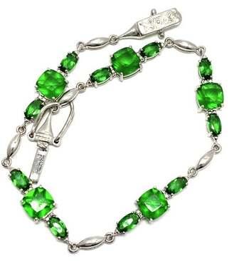 .925 Sterling Silver, 0.01ct Natural Diamond & 9.75ct Emerald Bracelet