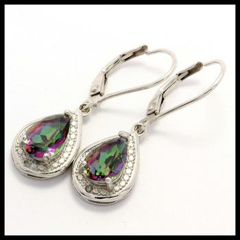 .925 Sterling Silver, 0.01ctw Genuine Diamond & 1.50ctw Genuine Mystic Topaz Earrings