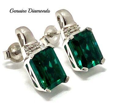 .925 Sterling Silver 0.024ct Genuine Diamond, 4.75ct Emerald Earrings