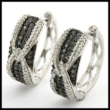 .925 Sterling Silver, 0.04ctw Genuine Black & White Diamond Earrings
