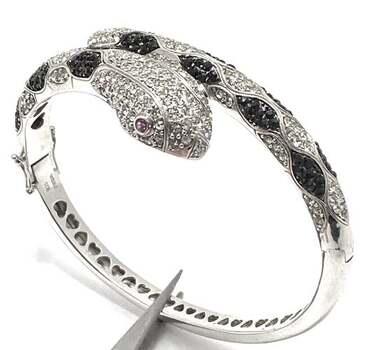 .925 Sterling Silver, 0.05ct Ruby & 5.75ct White & Black Diamonique Snake Bangle Bracelet