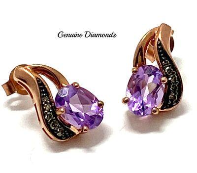 .925 Sterling Silver 0.06ct Genuine Diamond, 1.25ct Genuine Amethyst Earrings