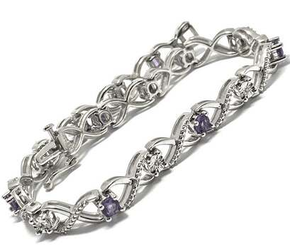 .925 Sterling Silver, 0.06ct Natural Diamond & 2.25ct Amethyst Bracelet